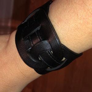 NWT Black Leather Hermes Wide Bracelet Size M